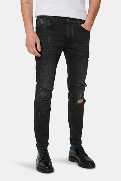 Jeans skinny tapered comfort stretch homme Noir