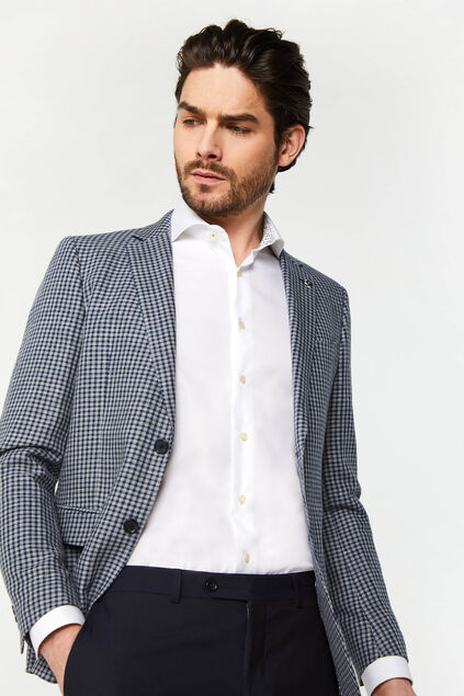 Blazer slim fit à carreaux homme Bleu
