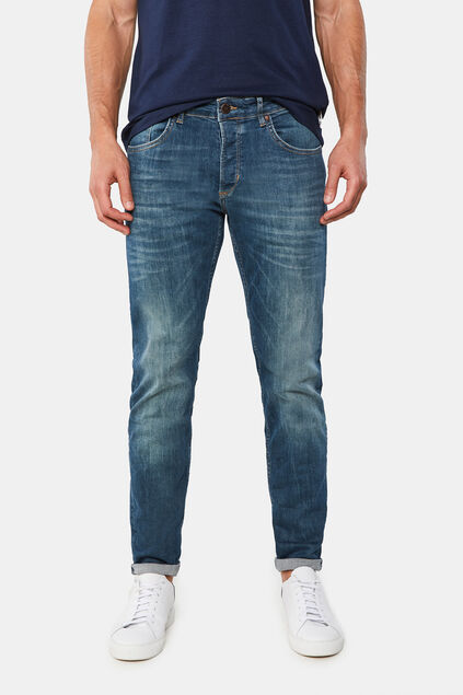 Herren-Skinny-Fit-Jeans mit Superstretch Dunkelblau