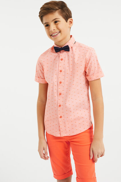 Jungen-Slim-Fit-Hemd mit Muster Orange