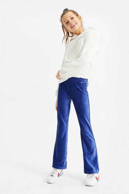 Leggings de velours flared fille Bleu foncé