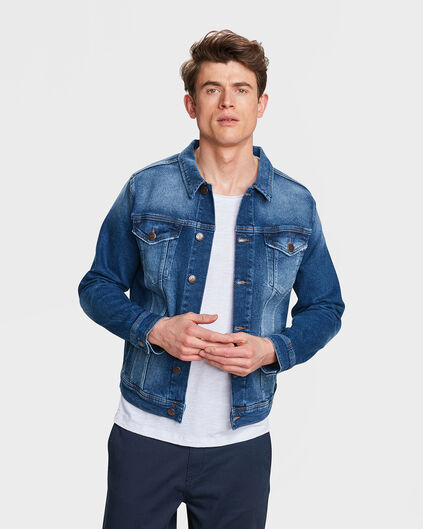 VESTE REGULAR FIT RIP & REPAIR DENIM HOMME Bleu
