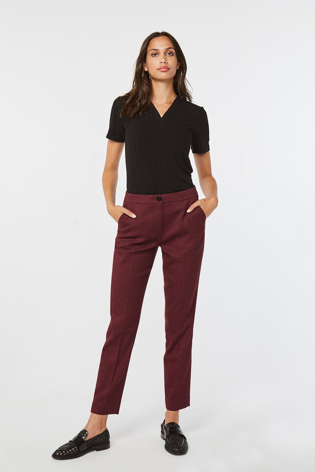 Pantalon slim fit femme Bordeaux