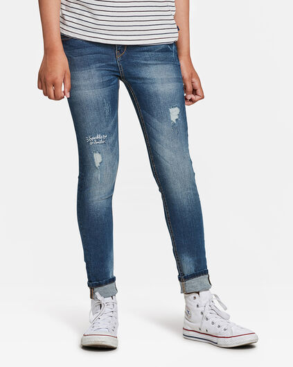 JEANS RIP AND REPAIR SUPER SKINNY FILLE Bleu