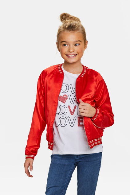 Blouson d'aviateur sporty stripe fille Rouge