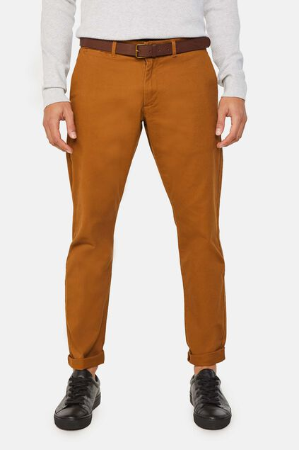 Pantalon chino slim tapered uni homme Brun Cannelle