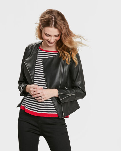 LEATHER LOOK JACKET FEMME Noir
