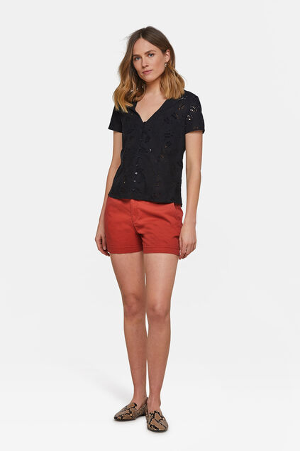 Damen-Chino-Shorts Orange