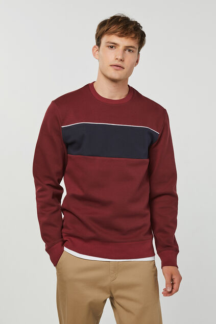 Sweat-shirt bloc de couleur homme Bordeaux