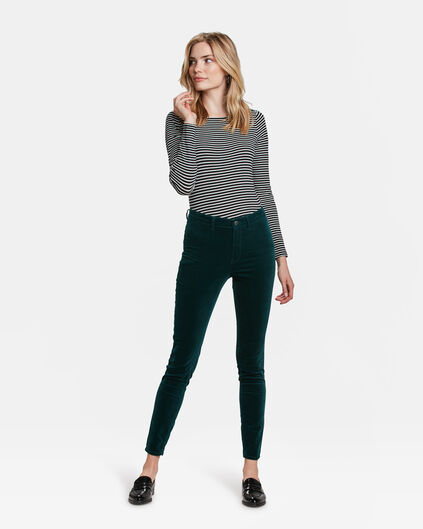 JEANS HIGH RISE SUPER SKINNY HIGH STRETCH VELVET FEMME Vert mousse