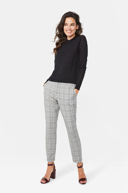 Pantalon slim fit à carreaux femme Gris clair