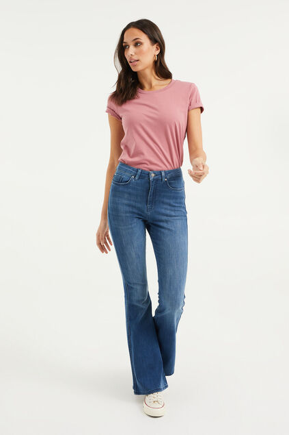 Jeans stretch high raised flared femme Bleu