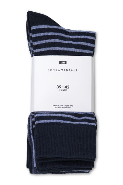 Gestreifte Herrensocken, 5er-pack Marineblau
