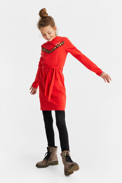 Robe à motif animaux fille Rouge vif
