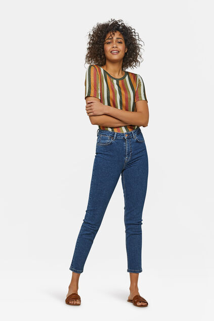 Damen-Slim-Fit-Jeans Dunkelblau