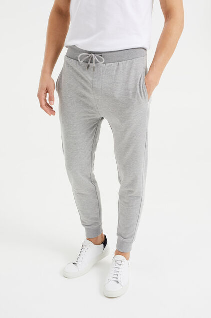 Pantalon de jogging slim fit de tissu sweat homme Gris clair
