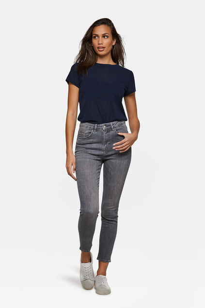 Jeans high rise skinny cropped femme Bleu eclair