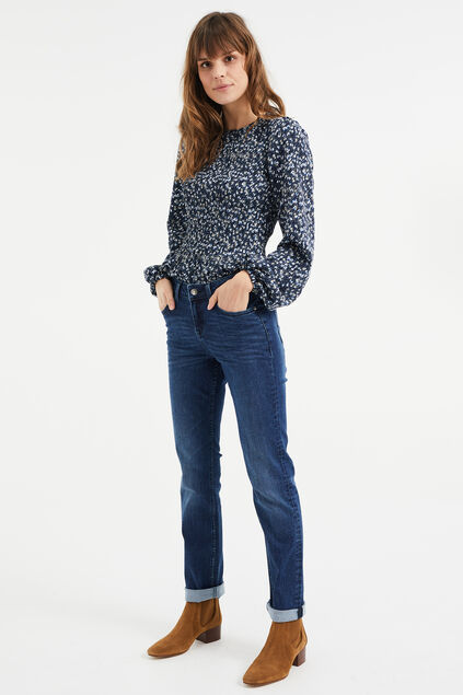 Damen-Slim-Fit-Jeans mit Super-Stretch und normaler Bundhöhe Dunkelblau