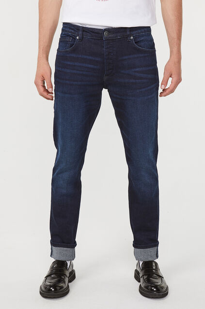 Herren-Slim-Fit-Jog-Denim Jeans mit Tapered Leg Dunkelblau
