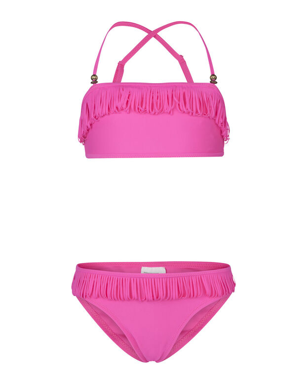 BIKINI BANDEAU A FRANGES FILLE Rose