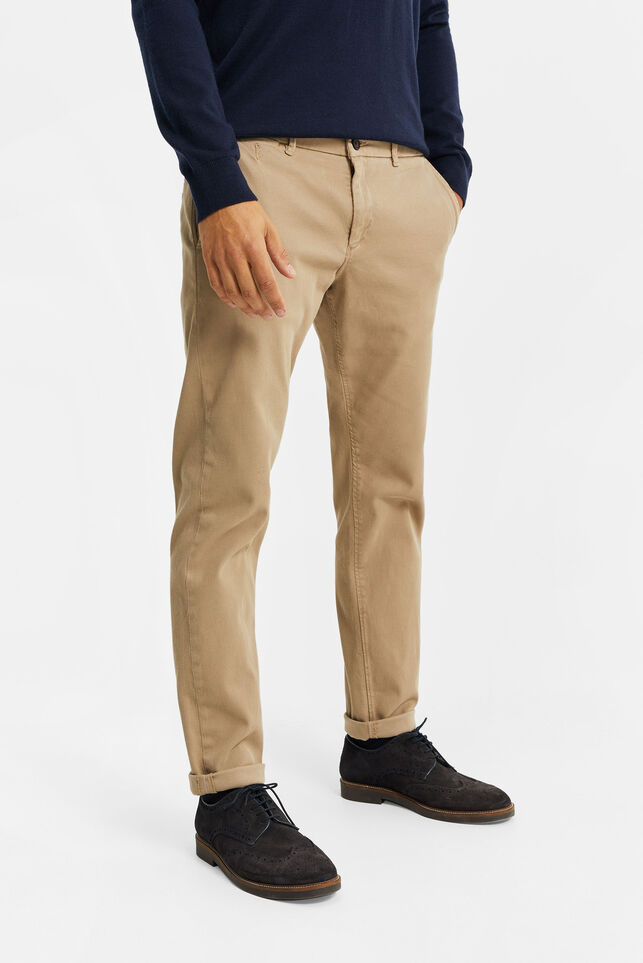 Herren-Slim-Tapered-Chinos in Ripp-Optik Beige