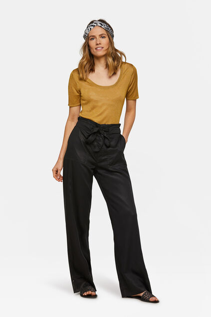 Pantalon relaxed fit flared femme Noir