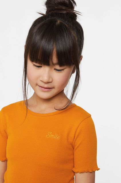 Mädchen-T-Shirt in Ripp-Optik Orange