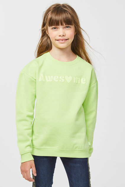 Sweat-shirt awesome print fille Jaune vif