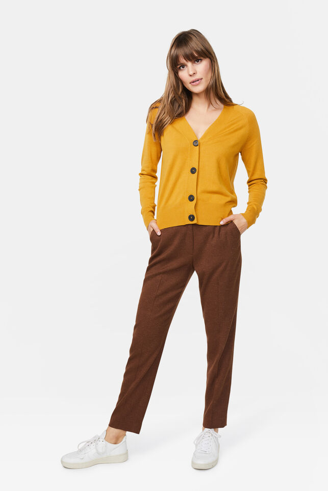 Damen-Slim-Fit-Hose Cognac