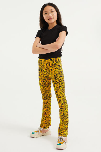 Mädchen-Flared-Leggings in Ripp-Optik mit Leopardenmuster Gelb