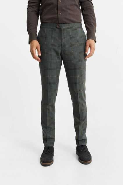 Pantalon slim fit à carreaux homme, Parson Vert gris