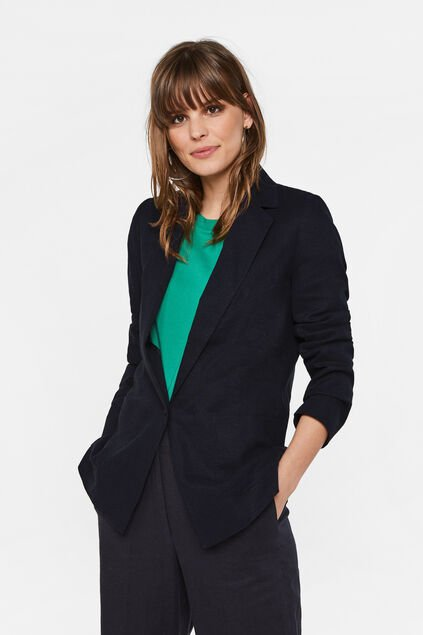 Damen-Loose-Fit-Blazer aus Leinen-Mix Grau