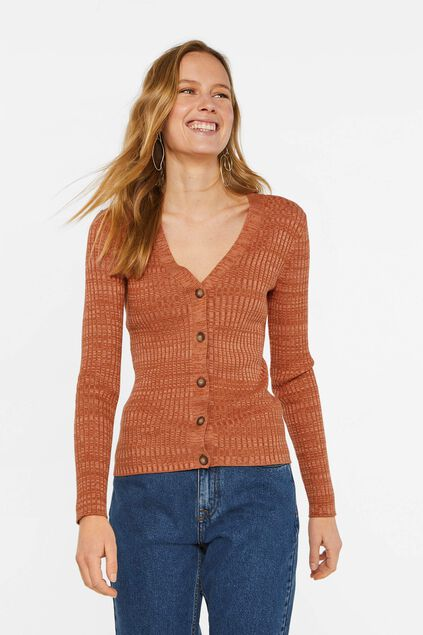 Damenstrickjacke in Ripp-Optik Orange
