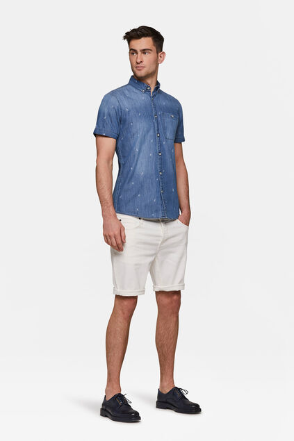 Herren-Regular-Fit-Jeansshorts Weiß