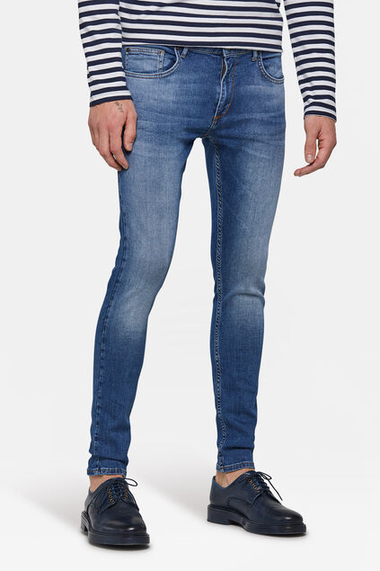 Herren-Superskinny-Jeans mit Tapered Leg Blau