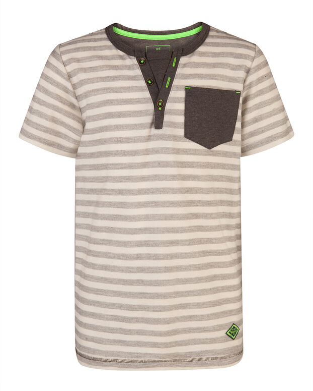 T-SHIRT GRANDAD STRIPED GARÇON Gris
