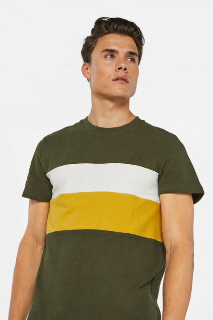 Herren-T-Shirt in Colourblock-Optik Armeegrün