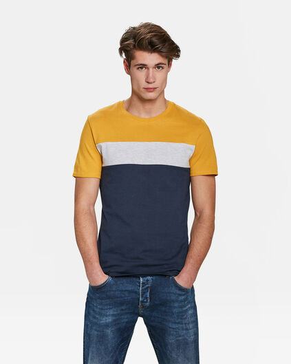 T-SHIRT COLOUR BLOCK HOMME Jaune