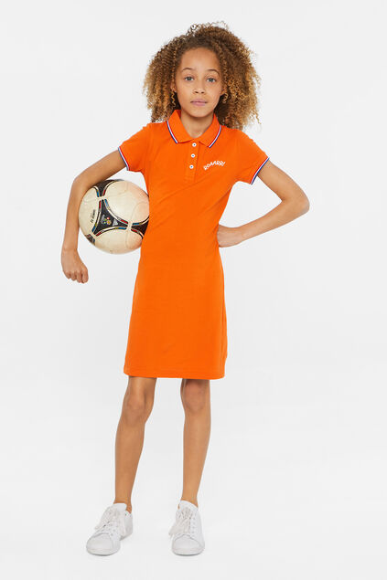 Robe polo de piqué de coton fille Orange