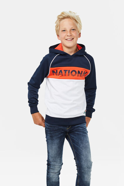 Jungen-Kapuzensweatshirt in Colourblock-Optik Marineblau