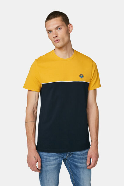 Herren-T-Shirt in Colourblock-Optik Marineblau
