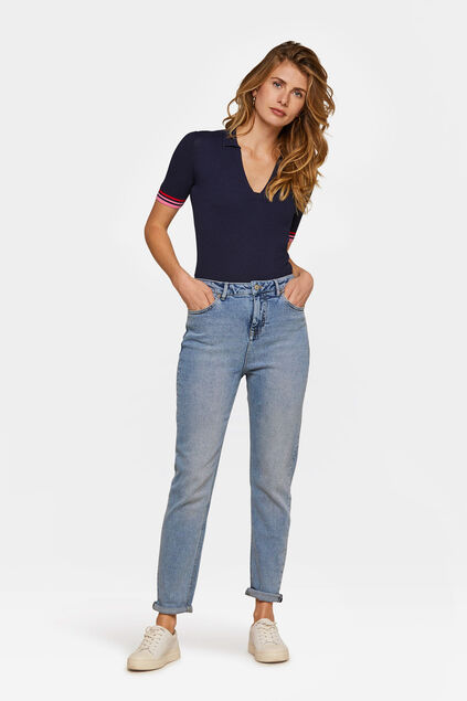 Jeans high rise tapered leg comfort stretch femme Bleu