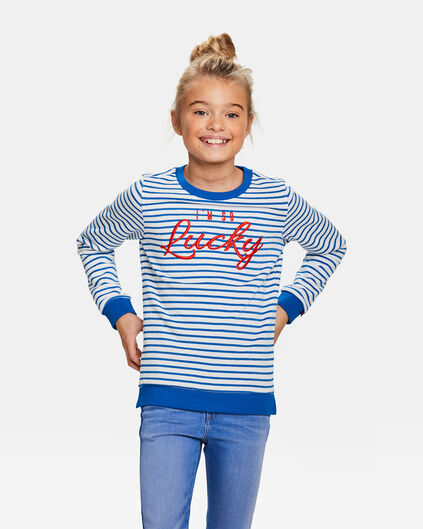Sweat-shirt rayé fille Bleu