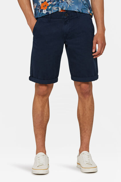 Short chino long fit homme Bleu marine