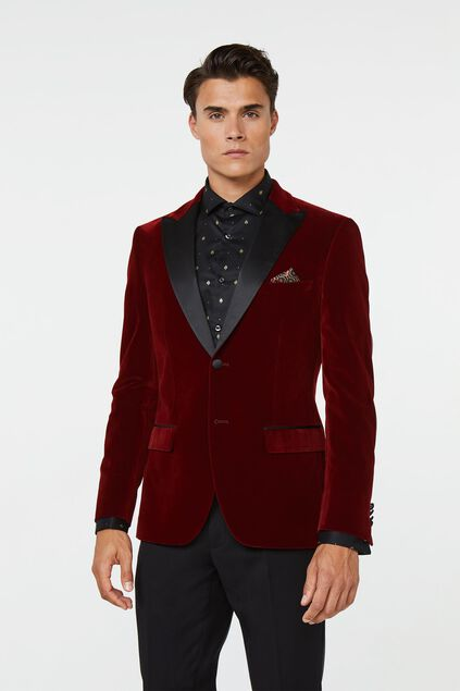 Veste de smoking slim fit homme Rouge