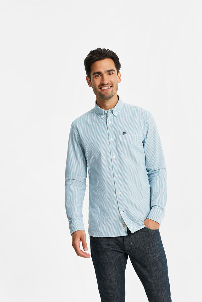 Chemise slim fit Oxford à rayures homme Vert menthe