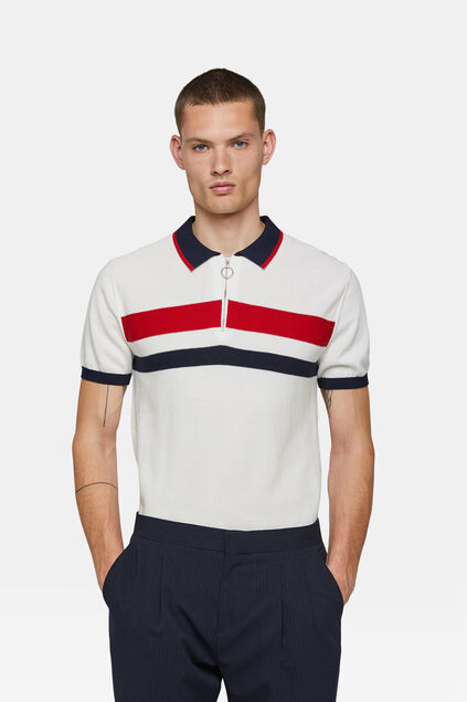 Polo tricot homme Blanc