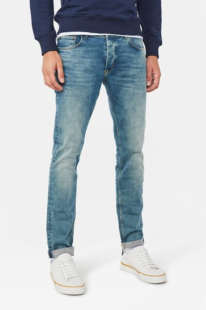 Herren-stretchjeans met tapered leg Moosgrün