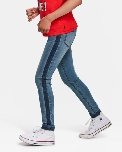 JEGGING SUPER SKINNY SIDE STRIPE FILLE Bleu