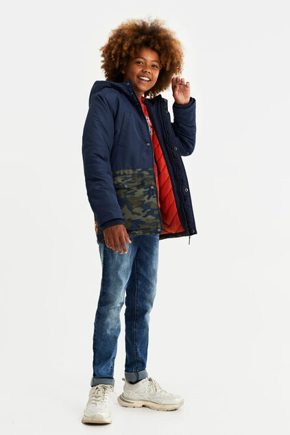 Jungen-Winterjacke in Colorblock-Optik Dunkelblau